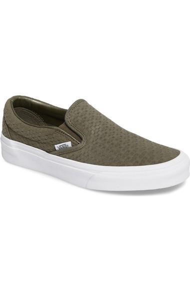 83ae034521 Vans Classic Slip-On Sneaker In Grape Leaf  Burnt Olive Suede