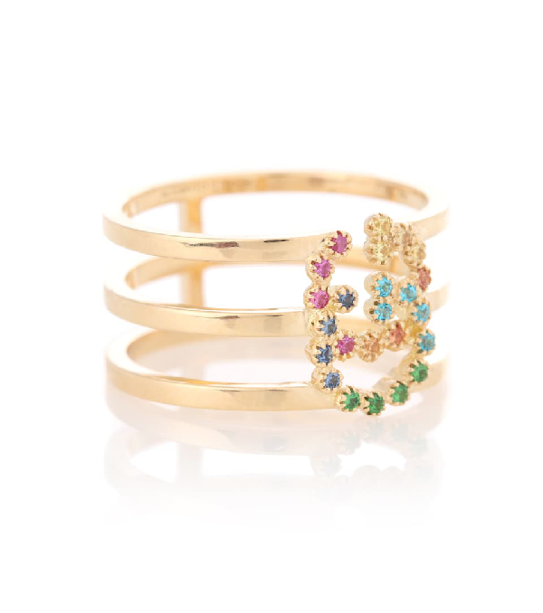 Gucci Running G Three-Row Band Ring With Topaz & Sapphire In 18Kt Yellow Gold & Multicolor