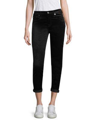 7 For All Mankind Velvet Ankle Skinny Jeans In Black