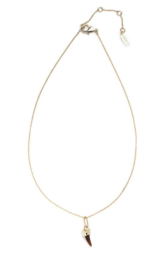 Akola Blake Dainty Horn Pendant Necklace In Caramel