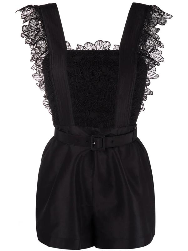 Self-portrait Black Taffeta Jumpsuit With Floral Lace Details In Schwarz