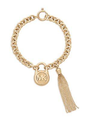 Michael Kors Goldtone Steel Padlock Chain Bracelet In Yellow Gold