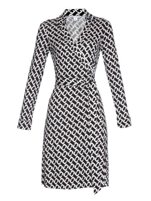 8a699a1c746 Diane Von Furstenberg New Julian Two Silk Chain Link Wrap Dress ...