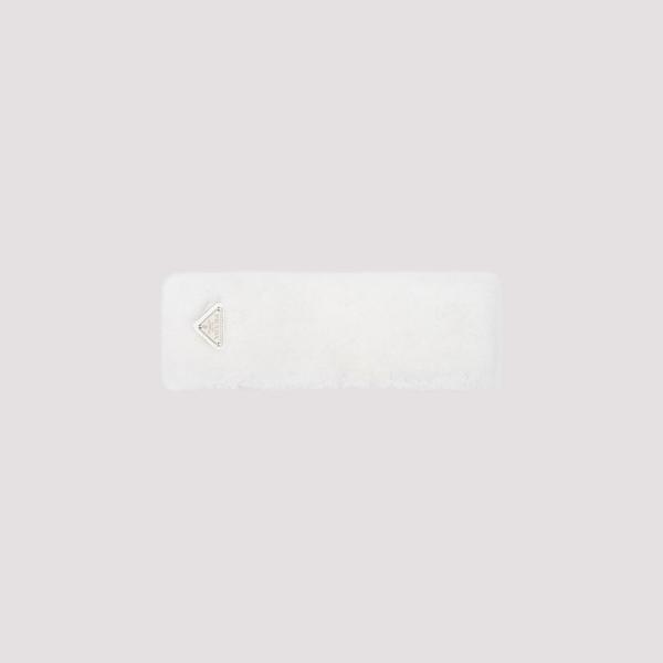 Prada Shearling Headband In White