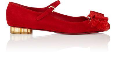 Salvatore Ferragamo Flower-Heel Suede Ankle-Strap Flats