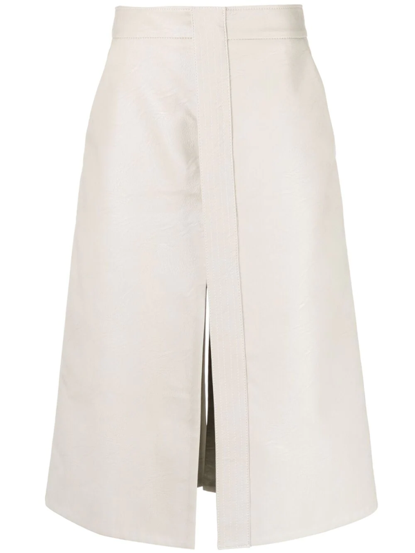 Stella Mccartney Lauren Faux Leather Midi Skirt In Neutrals