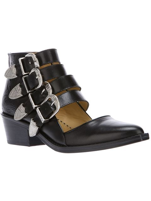 Toga Pulla Buckled Cutout Glossed-leather Ankle Boots In Black