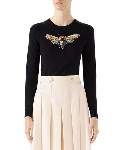 2287a60ee Gucci Butterfly-Embroidered Long-Sleeve Top In Black | ModeSens