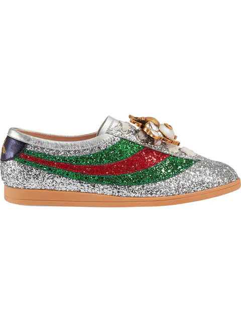 47ee70a146c Gucci Falacer Metallic Glittered Leather Low-Top Trainers In Grey ...