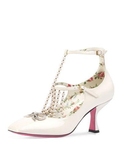 8291c49ee Gucci T-Strap Leather Pump With Pearls In White | ModeSens