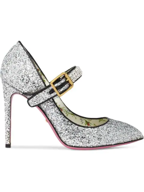 Gucci Sylvie Crystal-Embellished Glittered Leather Pumps In Metallic