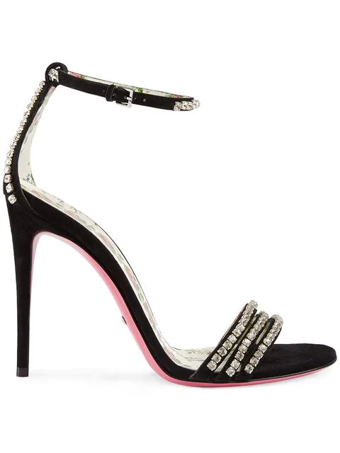 1c6d97696 Gucci Women's Ilse Embellished Ankle Strap Sandals In Black | ModeSens