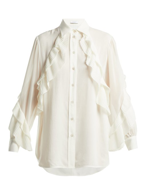 8b1e4d36679a04 Givenchy Long-Sleeve Button-Front Silk Georgette Blouse W/ Ruffle Detail In  White
