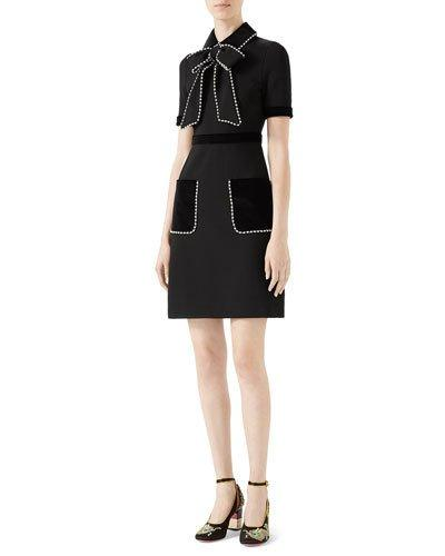 ebe22c2cc8 Gucci Viscose Jersey Dress With Pearls   Crystals In Black