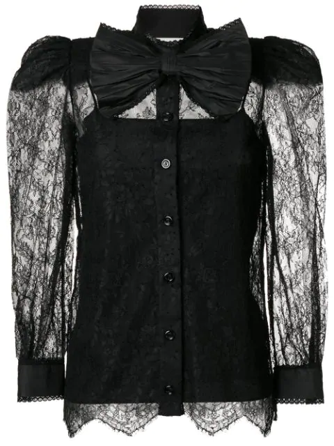 b1bf9f02d6fda7 Gucci Pussy-Bow Chantilly Lace Blouse In Black | ModeSens