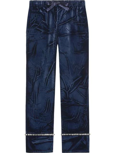 Gucci Velvet Pajama Pants In Blue