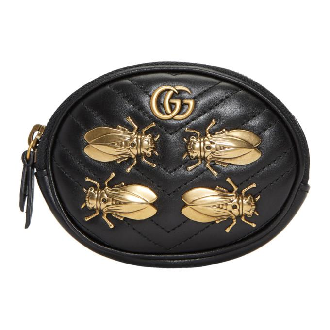 743926c0d55c Gucci Black Gg Marmont 2.0 Animal Studs Wrist Pouch In Black Leather ...