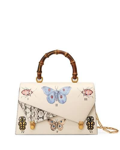 f0d99984222 Gucci Medium Linea P Butterfly Painted Leather   Genuine Snakeskin Top  Handle Satchel - White
