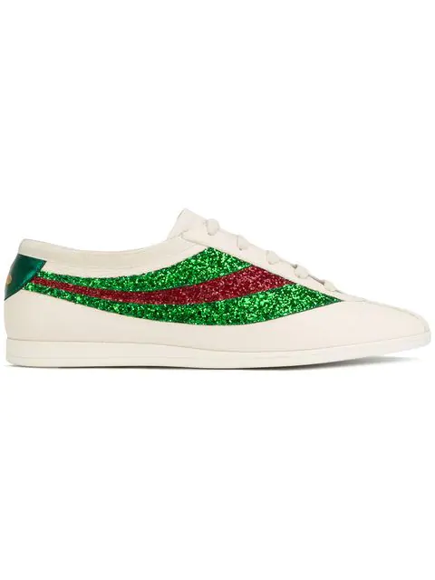 Gucci Falacer Sneakers With Sequinned Web In White/Grey