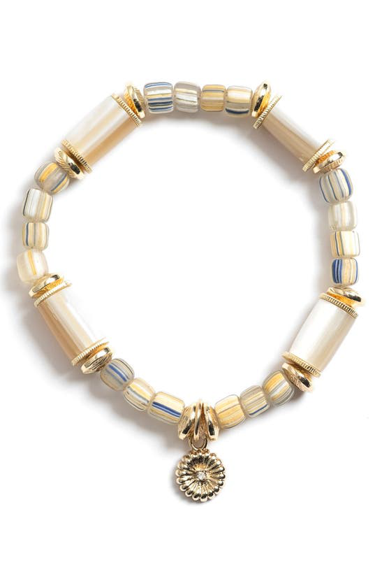 Akola Peony Charm Beaded Stretch Bracelet In Natural