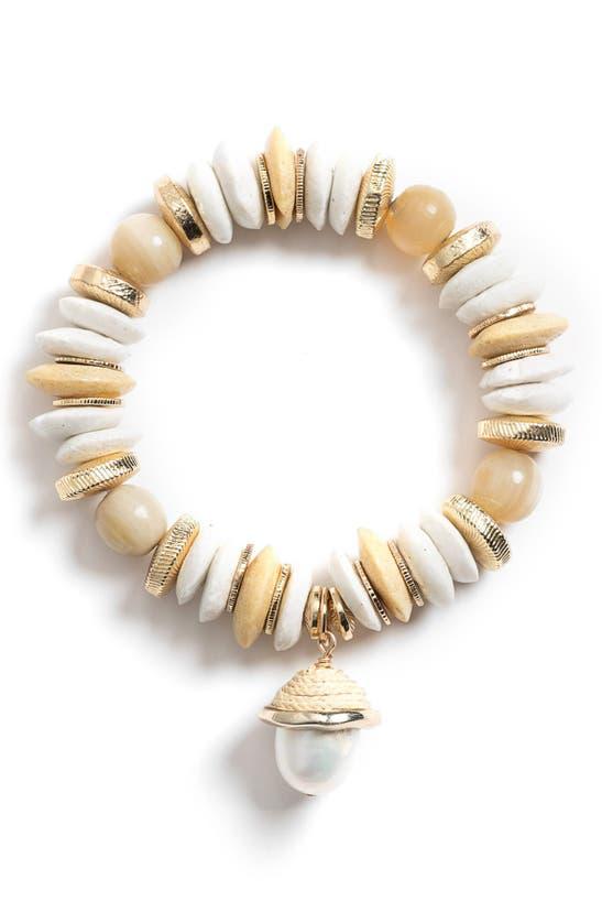 Akola Aster Cultured Pearl Charm Stretch Bracelet In Natural