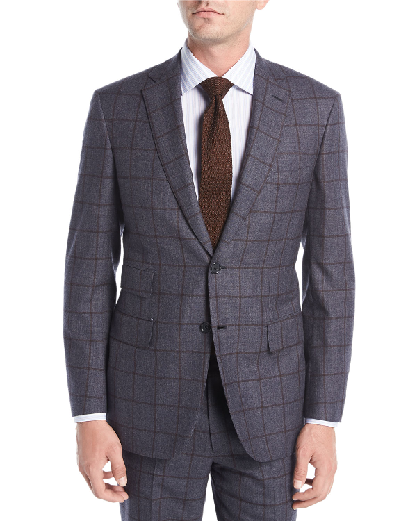 Brioni Windowpane Check Wool Two-Piece Suit In Brown