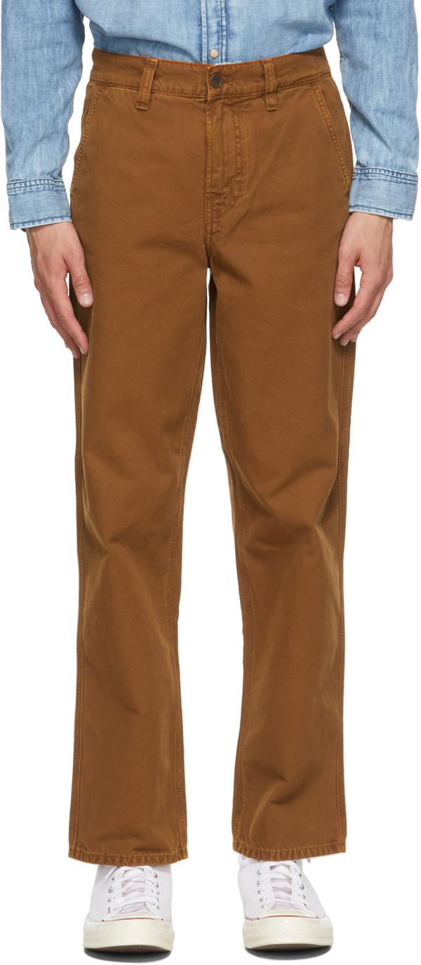 Nudie Jeans Brown Lazy Leo Trousers In Canvas Cinnamon
