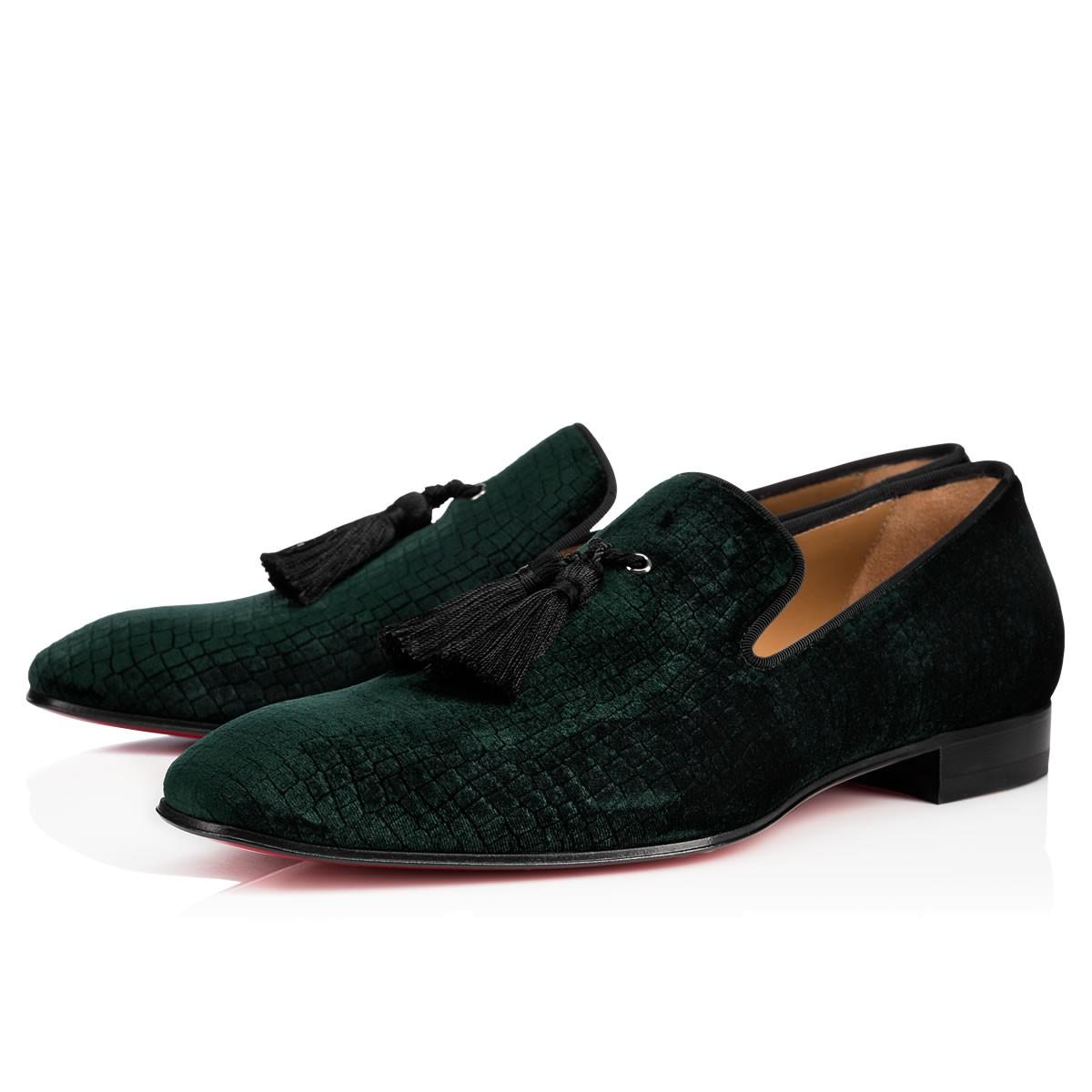 4788dba91dc0 Christian Louboutin Stampato Reptile-Effect Velvet Loafers In Verde. CHRISTIAN  LOUBOUTIN