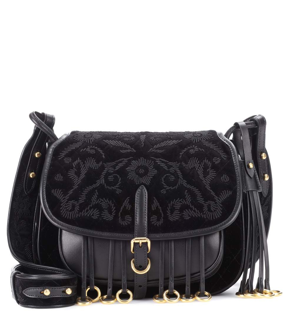 bb63ad6a0e7c Prada Corsaire Floral Saddle Bag In Black