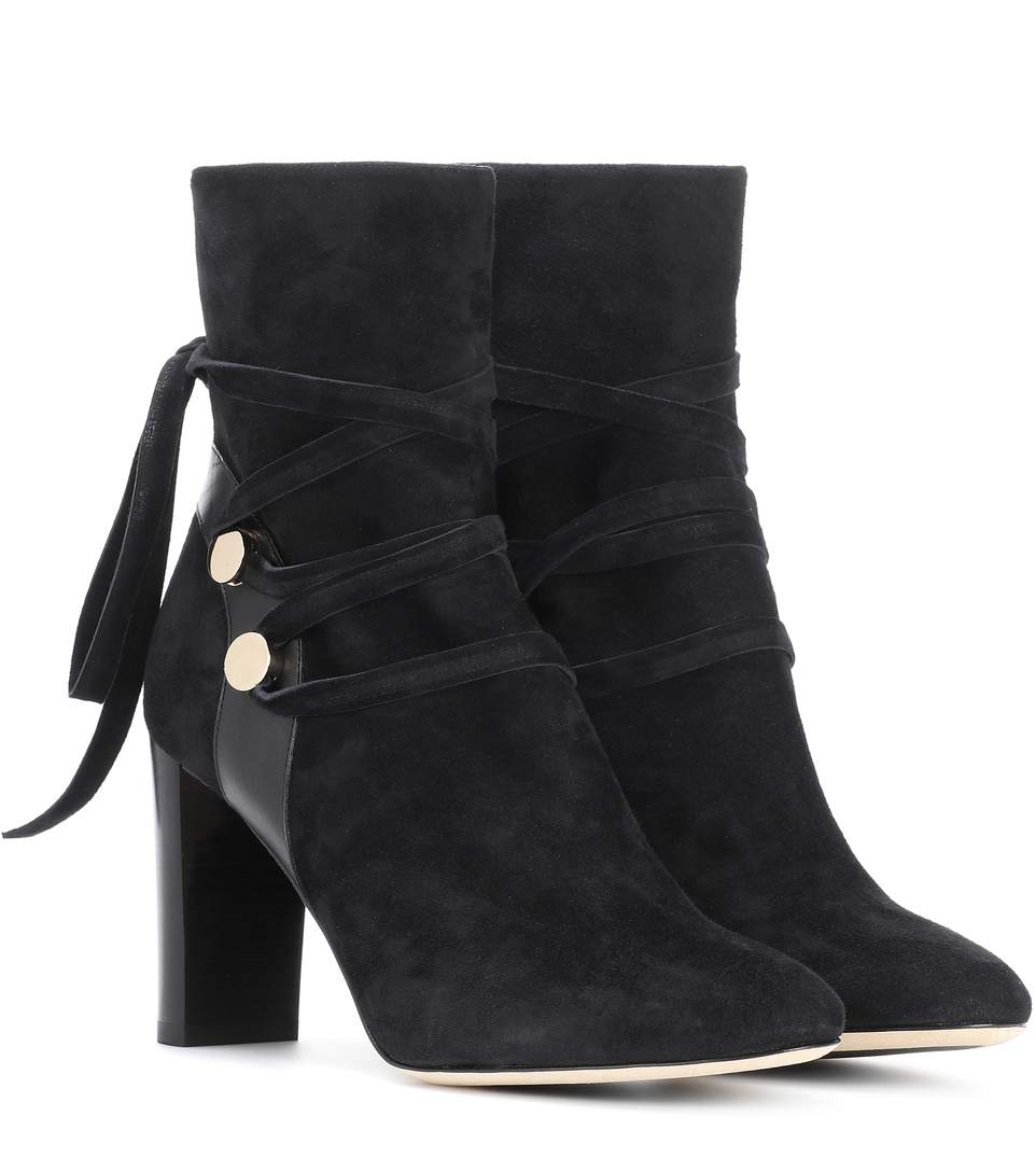 56c27050f5b6 Jimmy Choo Hampton 80 Black Suede And Leather Boots