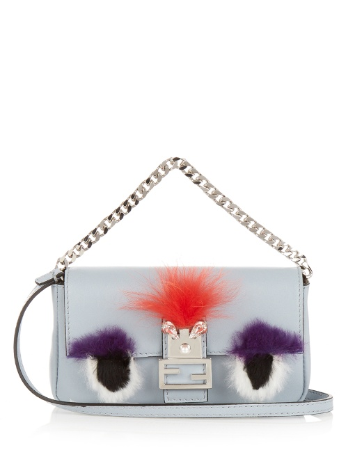 3d158fd774 Fendi Micro Baguette Fur-Trimmed Leather Shoulder Bag In Light-Blue ...