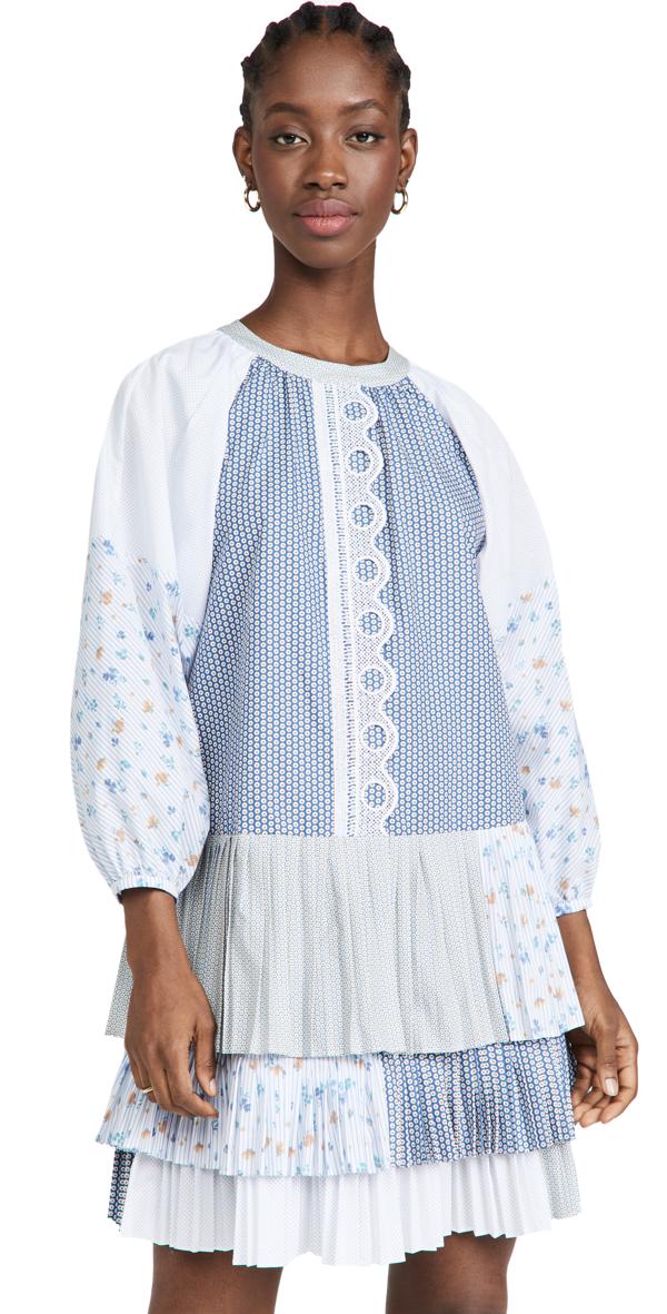 Silvia Tcherassi Mantova Puff-sleeve Mixed-print Dress In Multi Blue Pattern
