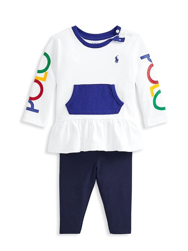 Ralph Lauren Baby Girl's Logo Top & Leggings Set In Navy