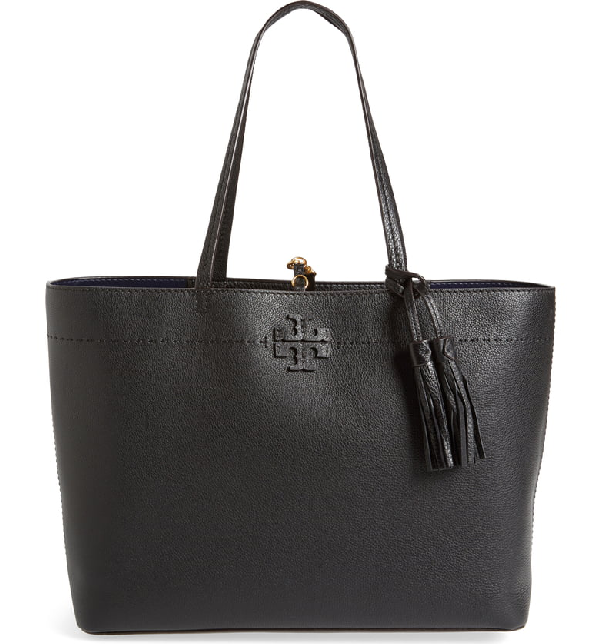 Tory Burch Small Robinson Leather Tote - Black In Black/ Royal Navy