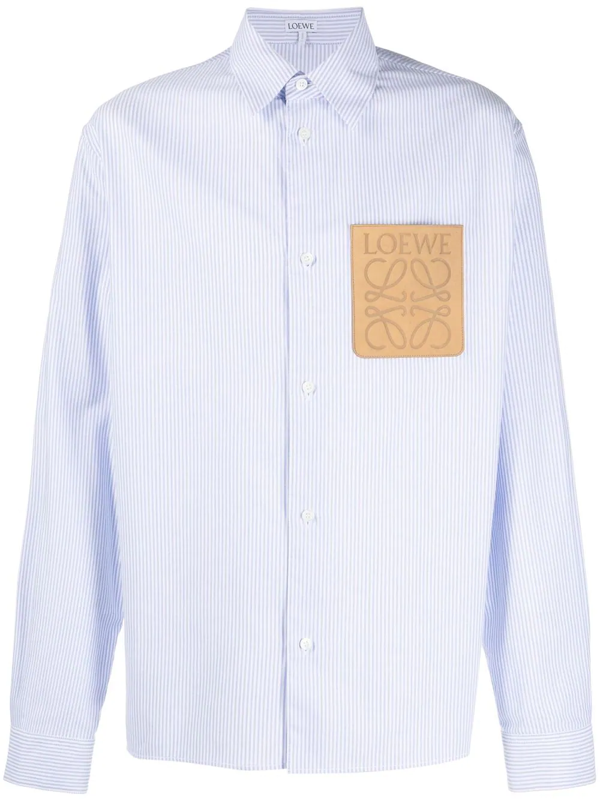 Loewe Anagram Patch Stripe Oxford Button-up Shirt In White/ Blue