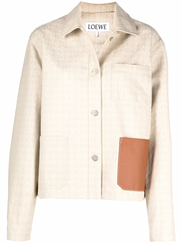 Loewe Leather Patch Anagram Jacquard Cotton Shirt Jacket In Neutrals
