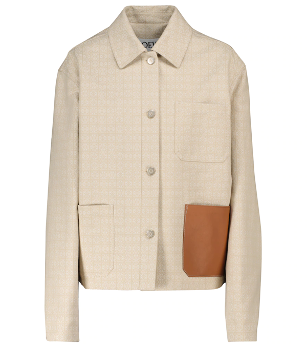 Loewe Logo-detail Long-sleeve Jacket In Neutrals