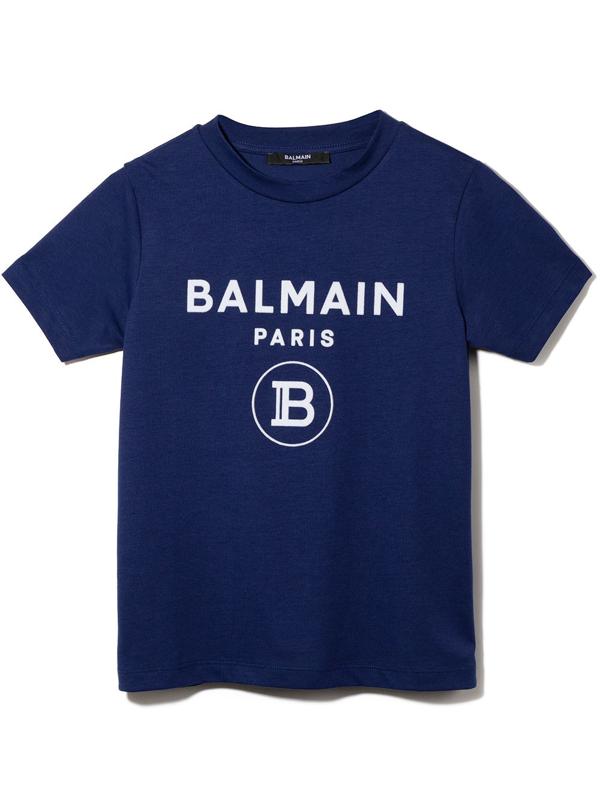 Balmain Kids' Flocked-logo Cotton T-shirt In 蓝色