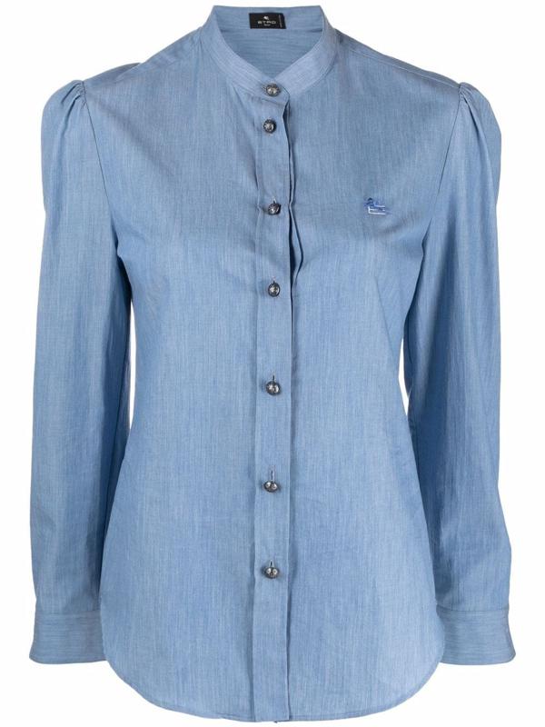 Etro Collarless Button-up Shirt In Blue