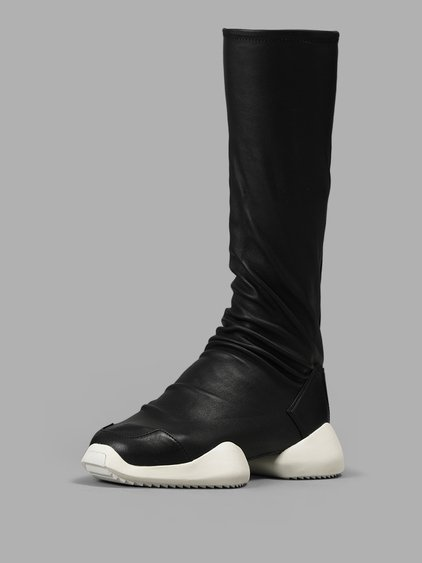 d160e88ab2f7 Rick Owens Black Adidas Originals Edition Level Sock Runner Boots In 9111  Black White
