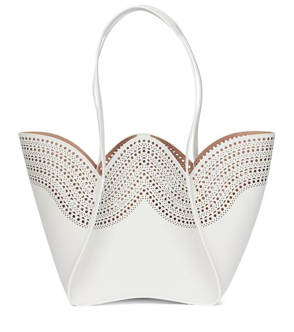 Alaïa Lili 22 Vienne Laser-cut Leather Tote Bag In Blanc Optique