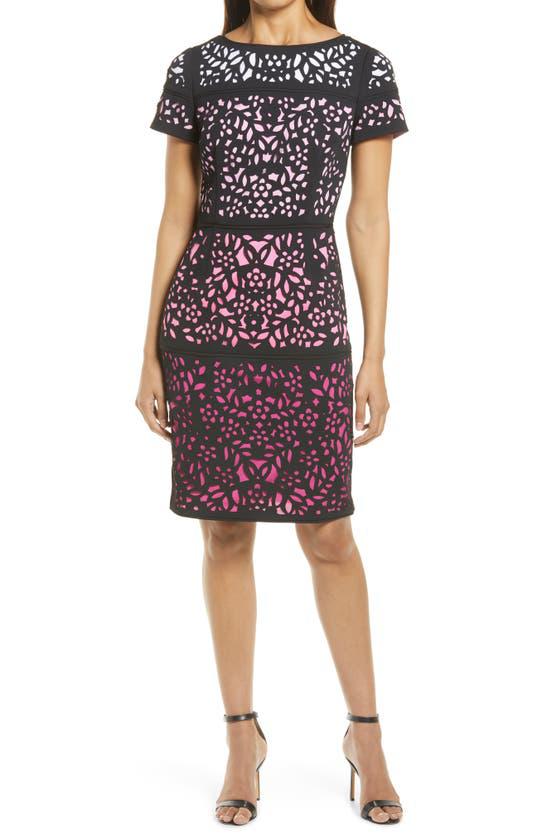 Shani Ombre Laser-cut Crepe Sheath Dress In Black/ Pink