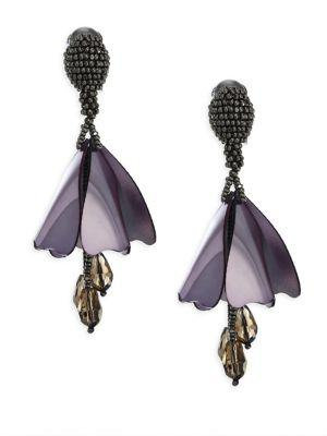 Oscar De La Renta Small Impatiens Clip-On Earrings In Gunmetal