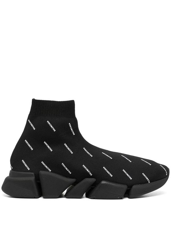 Balenciaga Speed 2.0 Logo-print Stretch-knit Slip-on Sneakers In Black/ White