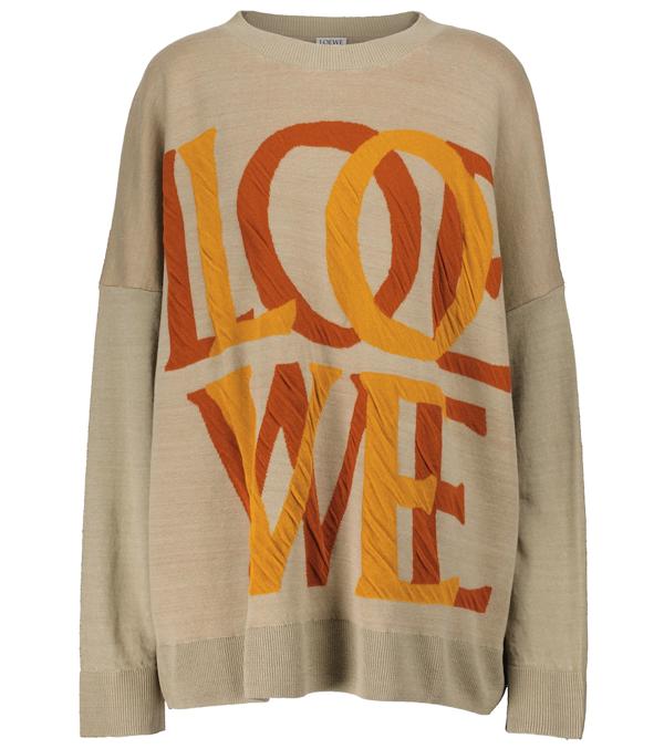Loewe Jacquard-knit Linen-blend Sweater In Neutrals