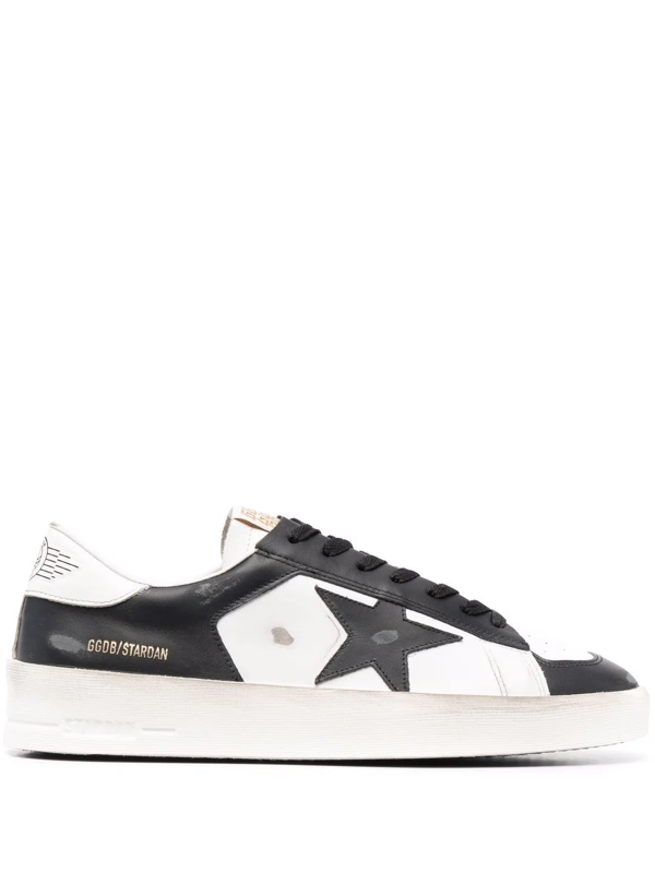Golden Goose Stardan Sneakers In Black And White Leather In Weiss