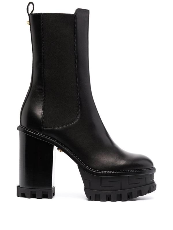 Versace Greca Labyrinth Leather Platform Ankle Boots In Schwarz
