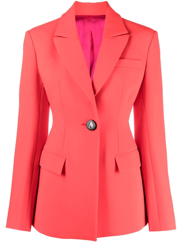 Attico Single-breasted Crepe Suit Jacket In Rot