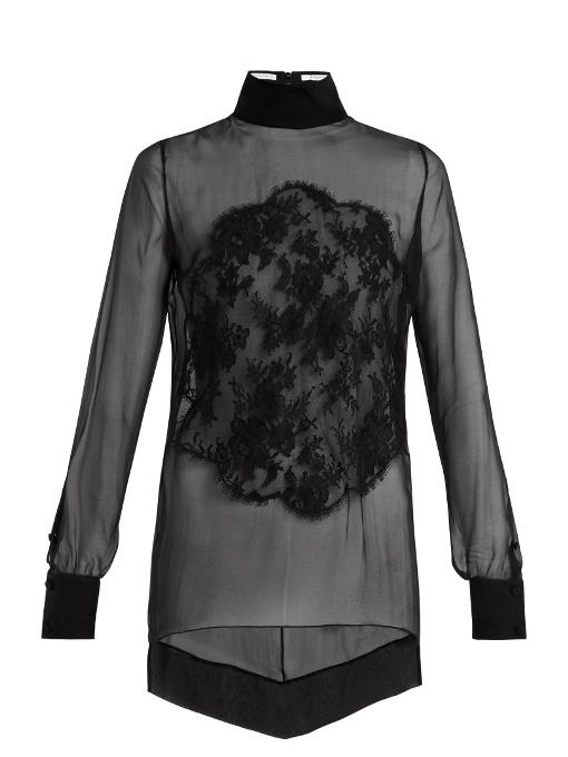 Givenchy Lace-appliquÉ High-neck Sheer Silk Blouse In Black