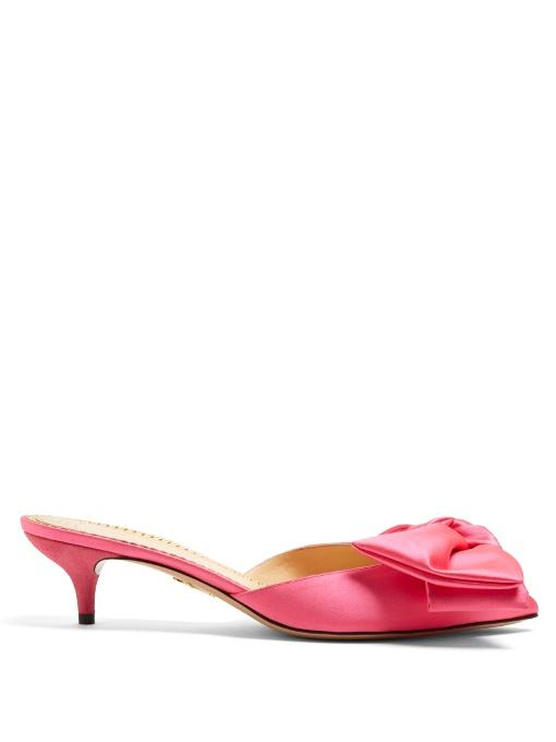 a888cdfcd6c Charlotte Olympia Sophie Suede-Trimmed Bow-Embellished Satin Mules In Pink